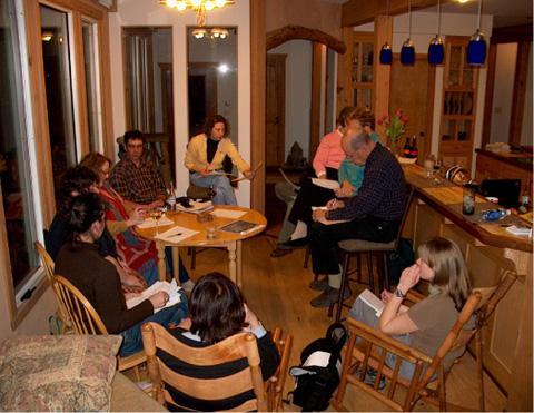 The Fair Share Farm core group deliberates, in Missouri, USA. Photocourtesy of Fair Share Farm